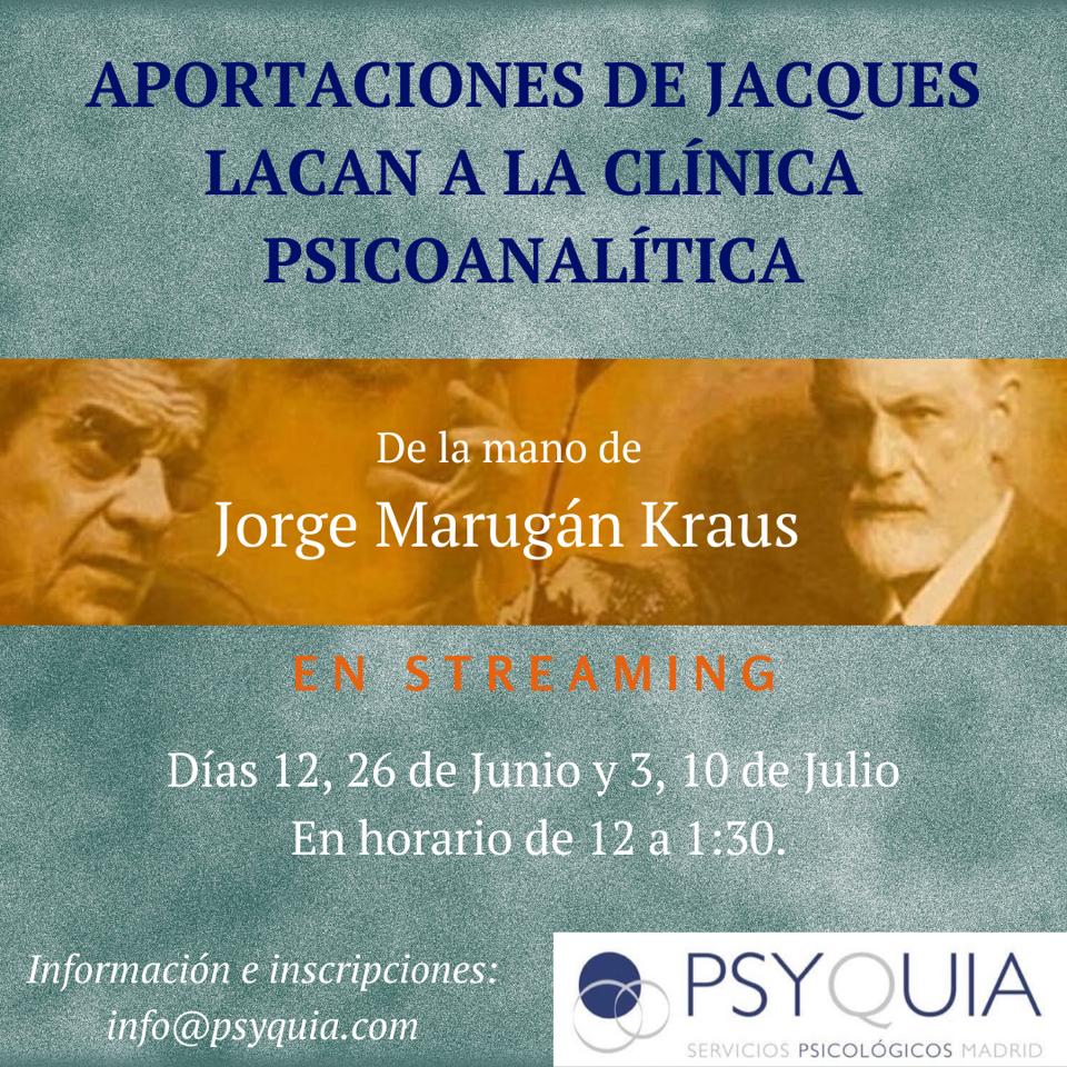 """MONOGRÁFICO (Parte 2):El OBJETO a. """"Aportaciones de Jacques Lacan a la Clínica Psicoanalítica""""-  Jorge Marugán"""