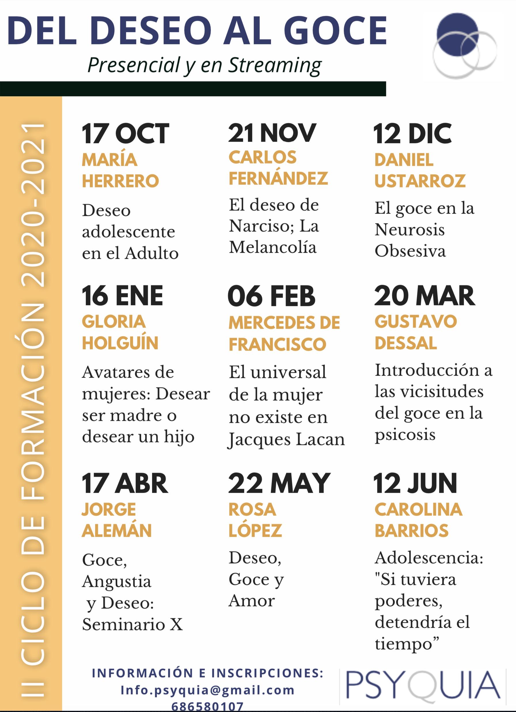 II Ciclo de formación 2020/2021: Del deseo al goce.